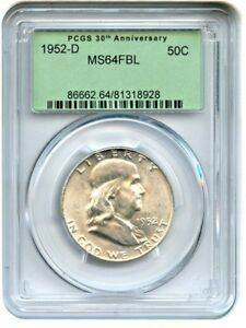 1952 D 50C PCGS MS64 FBL  RETRO OGH  PCGS 30TH ANNIVERSARY HOLDER