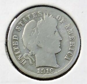 1916 S BARBER DIME   10 SILVER COIN @M