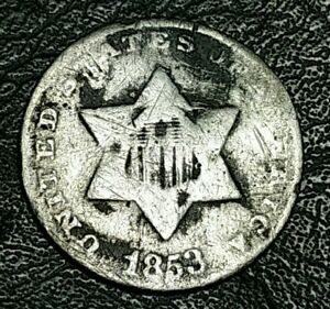 1853 3 CENT SILVER 90  US SILVER COIN