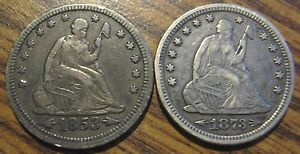 1853 & 1873 SEATED LIBERTY QUARTERS 90  SILVER LOT