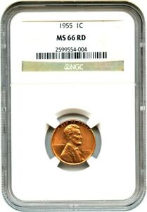 1955 1C NGC MS66 RD   LINCOLN CENT