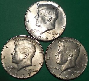 Click now to see the BUY IT NOW Price! KENNEDY HALF DOLLARS THREE 40  SILVER 1966 1967 1968 D