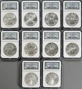 1986 2005 SILVER EAGLE 20 COIN SET EACH NGC MS69   SET IS 293 OF 2 500
