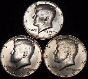 Click now to see the BUY IT NOW Price! KENNEDY HALF DOLLARS 40  SILVER 1967 1968 D 1969 D