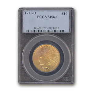 Click now to see the BUY IT NOW Price! 1911 D $10 INDIAN GOLD EAGLE MS 62 PCGS   SKU158063