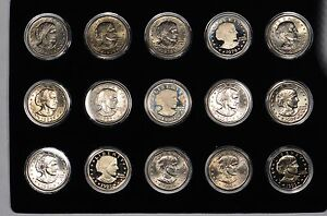 SUSAN B ANTHONY 15 COIN SET IN CAPSULES BU & PROOFS