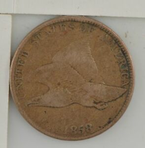 1858 FLYING EAGLE ONE CENT STAMPED
