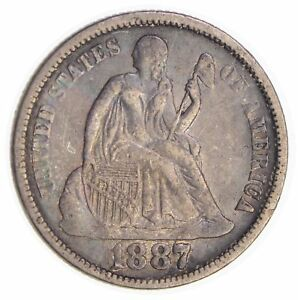 1887 SEATED LIBERTY SILVER DIME  3945