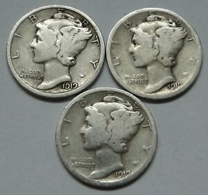 MERCURY DIME  1919 P    LOT OF 3   CLEAN COINS