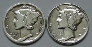 MERCURY DIME  1941 S & 1945 P     LOT OF 2     POLISHED