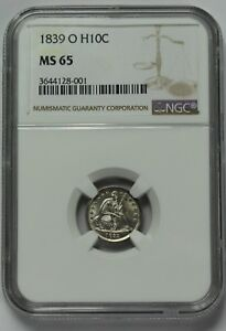 Click now to see the BUY IT NOW Price! 1839 O NO DRAPERY SEATED LIBERTY HALF DIME 90  SILVER NGC MS65 UNC BU STARS H10C