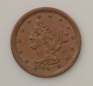 1854 BROWN BRAIDED HAIR HALF CENT  G88