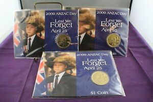 Click now to see the BUY IT NOW Price! 3 X 2009 PERTH MINT ANZAC DAY LEST WE FORGET APRIL 25TH $1 UNCIRCULATED COIN