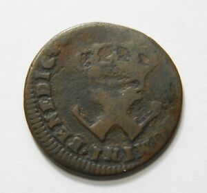 1721  1722 FRENCH COLONIAL AMERICA 9 DENIERS COLONIES FRANCOISE ERROR OFF CENTER