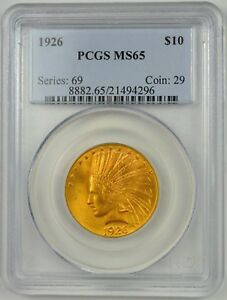 1926 US $10 GOLD INDIAN HEAD EAGLE TYPE 2 WITH MOTTO PCGS MS65