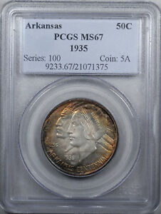 Click now to see the BUY IT NOW Price! 1935 ARKANSAS COMMEMORATIVE 50C PCGS MS67 OLD HOLDER TONED PREMIUM QUALITY
