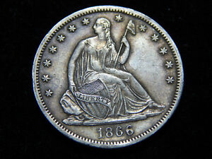 Click now to see the BUY IT NOW Price! 1866 S 50C SEATED LIBERTY HALF DOLLAR NO MOTTO XF
