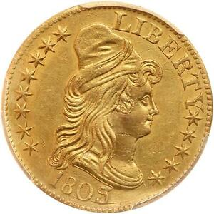1803/2 DRAPED BUST 5.00 GOLD HALF EAGLE PCGS GRADED AU DETAILS REALLY NICE COIN