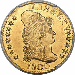 1800 DRAPED BUST 5.00 GOLD HALF EAGLE PCGS GRADED UNC DETAILS  MINT LUSTER