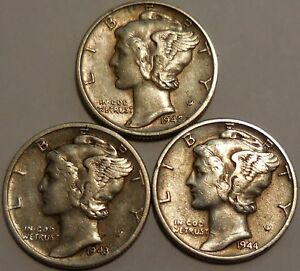 Click now to see the BUY IT NOW Price! MERCURY DIMES THREE 90  SILVER 1942 1943 1944