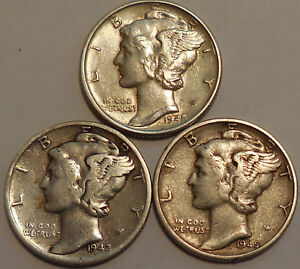 Click now to see the BUY IT NOW Price! MERCURY DIMES THREE 90  SILVER 1942 P 1942 S 1945 P