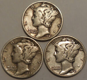 Click now to see the BUY IT NOW Price! MERCURY DIMES THREE 90  SILVER 1941 1942 1943