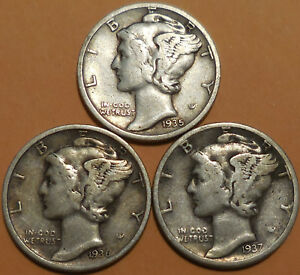 Click now to see the BUY IT NOW Price! MERCURY DIMES 90  SILVER 1935 1936 1937