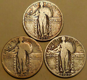 Click now to see the BUY IT NOW Price! STANDING LIBERTY QUARTERS THREE 90  SILVER 1925 P 1926 S 1927 P