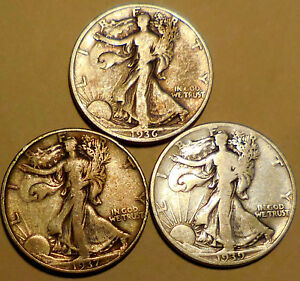 Click now to see the BUY IT NOW Price! LIBERTY WALKING HALF DOLLARS THREE 90  SILVER 1936 1937 1939