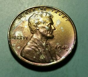TONED 1943 P LINCOLN STEEL WHEAT PENNY  W25041