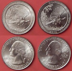 BRILLIANT UNCIRCULATED 2015 P & D US KISATCHIE 25 CENTS FROM MINT'S ROLLS