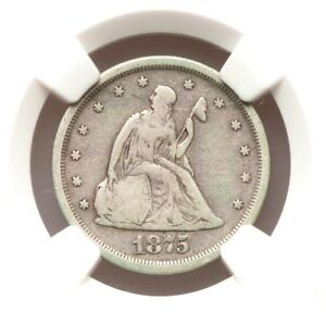 1875 S NGC F15 20C TWENTY CENT PIECE FINE TYPE COIN 140 YEARS OLD