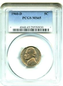 1960 D 5C PCGS MS65   JEFFERSON NICKEL