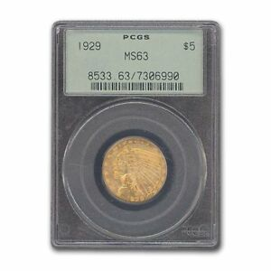 Click now to see the BUY IT NOW Price! 1929 $5 INDIAN GOLD HALF EAGLE MS 63 PCGS   SKU158061