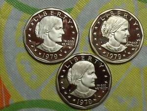 THREE PIECE LOT OF 1979 S TYPE 1 PROOF SUSAN B. ANTHONY DOLLARS