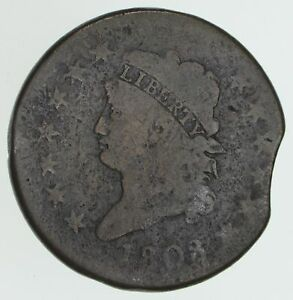 1808 CLASSIC HEAD LARGE CENT ERROR CLIPPED PLANCHET   CIRCULATED  3998