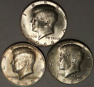 Click now to see the BUY IT NOW Price! KENNEDY HALF DOLLARS THREE 40  SILVER 1966 P 1968 D 1969 D