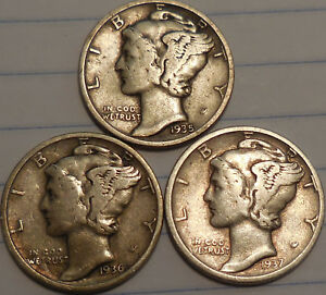 Click now to see the BUY IT NOW Price! MERCURY DIMES THREE 90  SILVER 1935 1936 1937