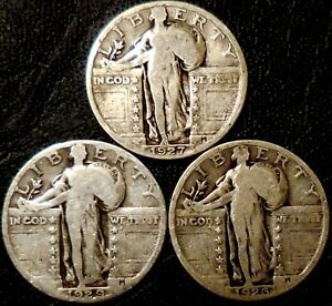 Click now to see the BUY IT NOW Price! STANDING LIBERTY QUARTERS THREE 90  SILVER 1926 1927 1929