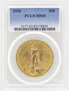 1924 $20 GOLD COIN ST. GAUDENS DOUBLE EAGLE PCGS MS61