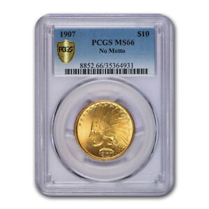 Click now to see the BUY IT NOW Price! 1907 $10 INDIAN GOLD EAGLE NO MOTTO MS 66 PCGS   SKU103236