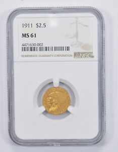 MS61 1911 $2.50 INDIAN HEAD GOLD QUARTER EAGLE   NGC GRADED  9779
