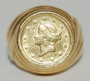 1853 US GOLD LIBERTY HEAD $1 DOLLAR COIN IN 18K GOLD RING SIZE 5