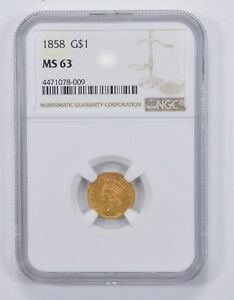 MS63 1858 INDIAN PRINCESS HEAD GOLD DOLLAR   NGC GRADED  9778