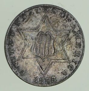 1858 SILVER THREE CENT PIECE   CIRCULATED  9653