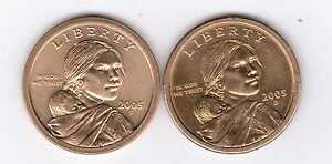 2005P & 2005D SACAGAWEA DOLLAR COINS TWO NICE COINS