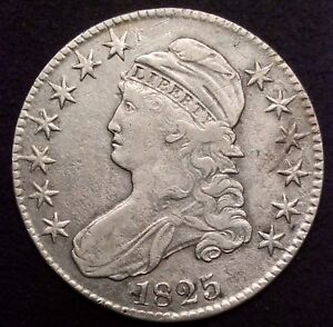 Click now to see the BUY IT NOW Price! 1825 CAPPED BUST SILVER HALF DOLLAR 50C VF OVERTON O 104 R4