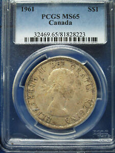 Click now to see the BUY IT NOW Price! 1961 CANADA SILVER DOLLAR $1 PCGS MS65 ELIZABETH II DOLLAR