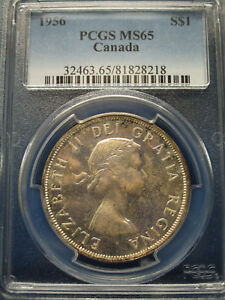 Click now to see the BUY IT NOW Price! 1956 CANADA SILVER DOLLAR $1 PCGS MS65 ELIZABETH II DOLLAR
