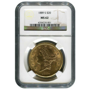 CERTIFIED US GOLD $20 LIBERTY 1889 S MS62 NGC